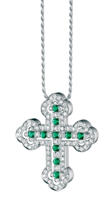 Damiani - Belle Epoque Orthodox Cross Emeralds